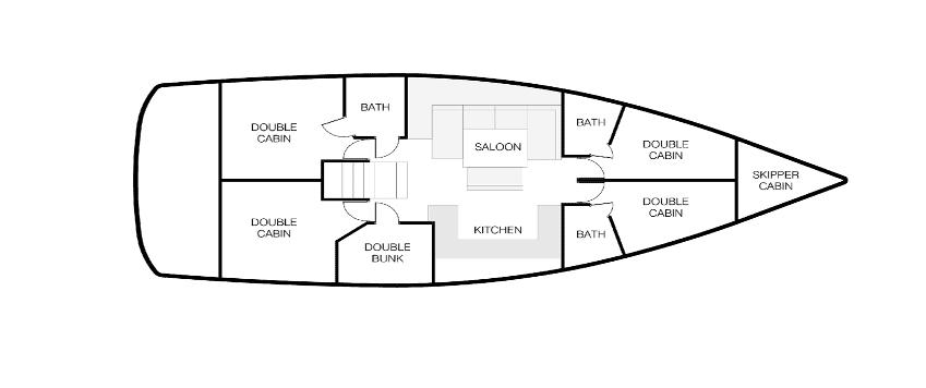 Nautical Escape Monohull cabins layout