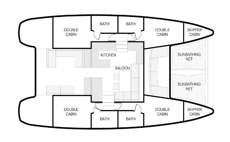 Nautical Escape Catamaran cabins layout