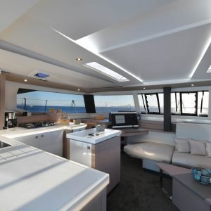 Saona 47 living room - Nautical Escape luxury sailing charter