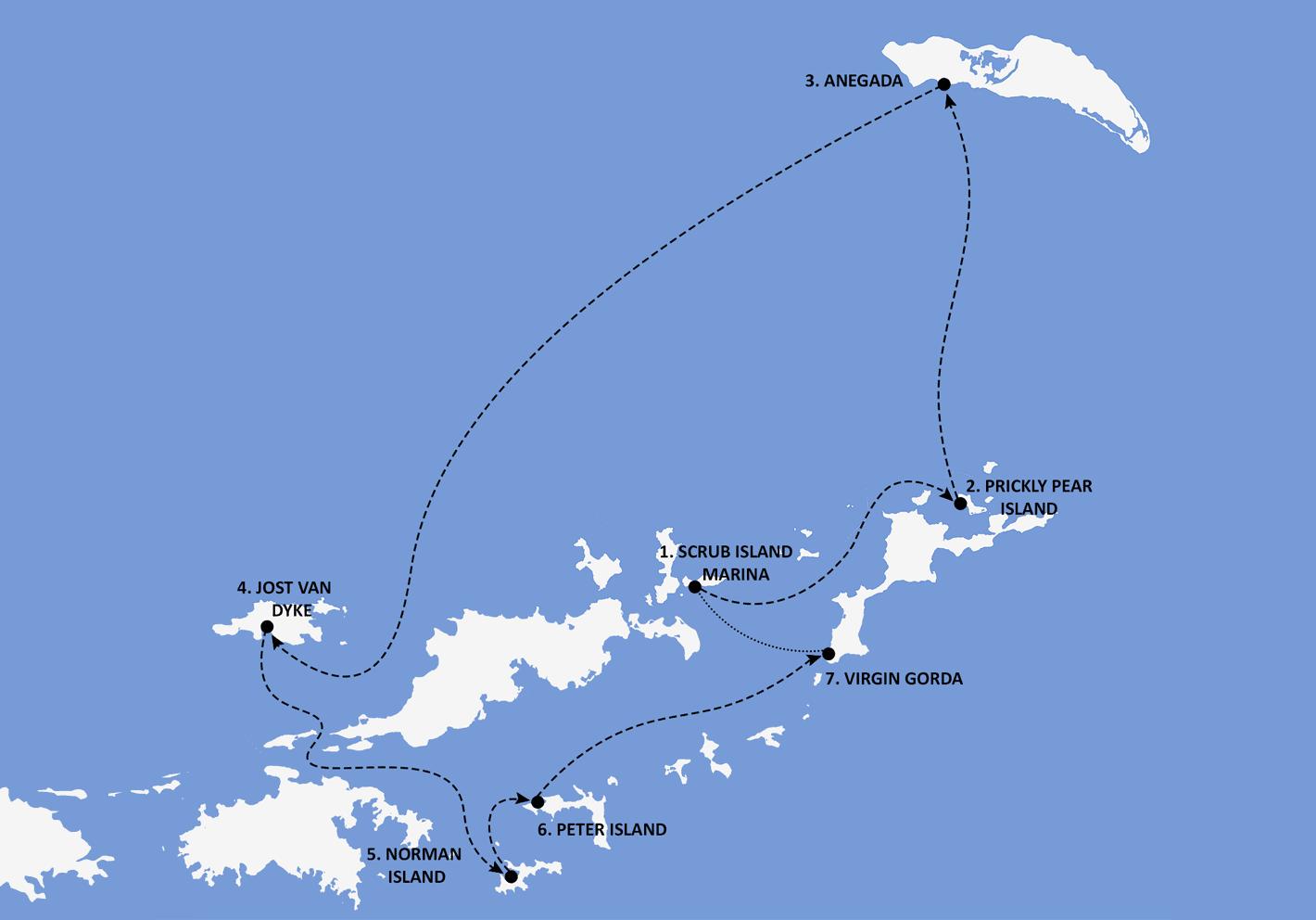 British Virgin Islands Itinerary Map - Nautical Escape