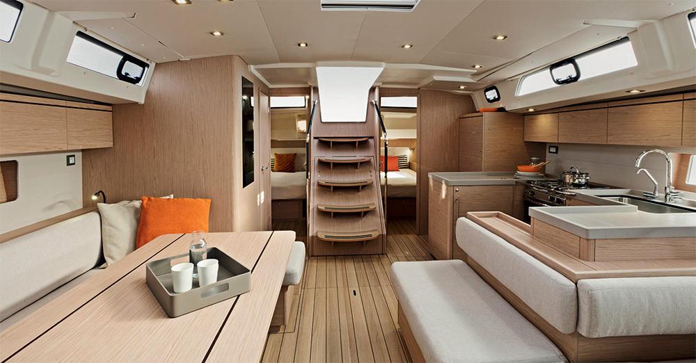 Nautical Escape luxury Monohull living area