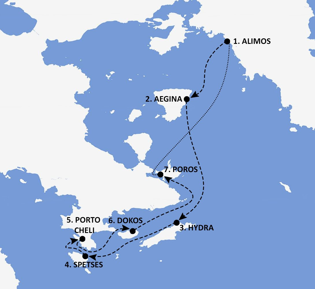 Saronic Gulf Greece Itinerary Map - Nautical Escape