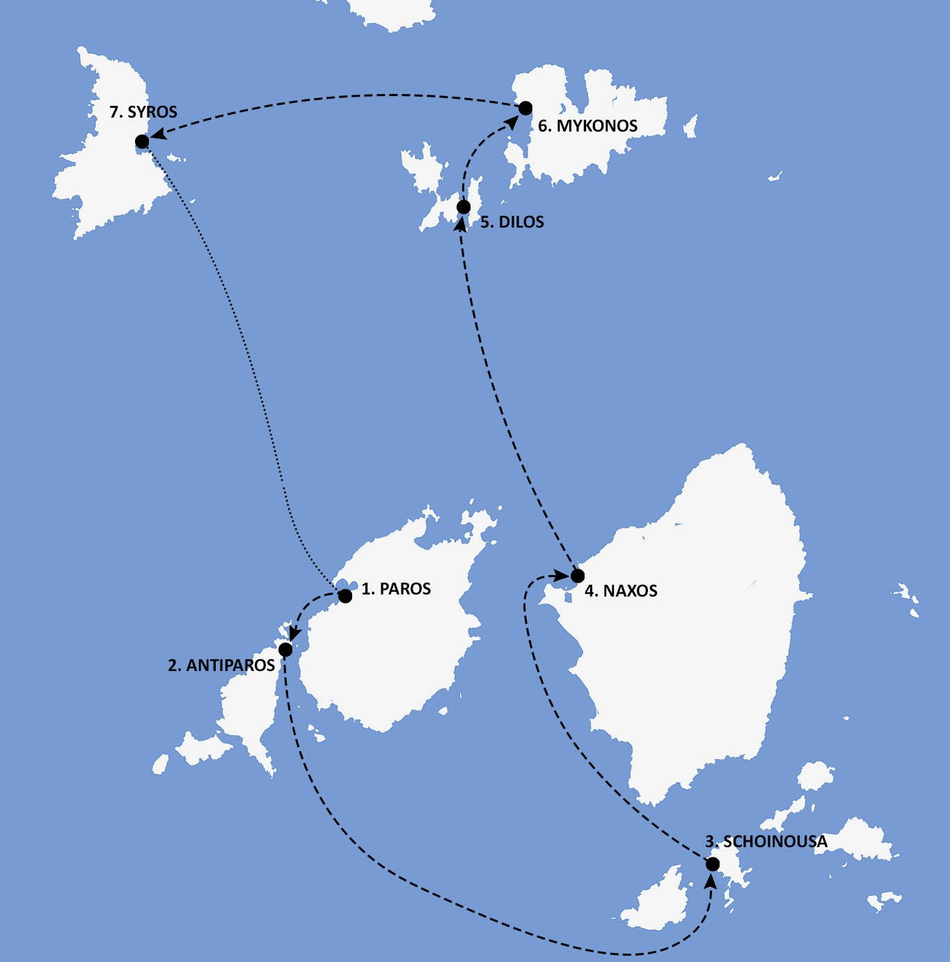 Cyclades Greece Itinerary Map - Nautical Escape